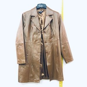 Chadwich Brown Leather Trench Coat